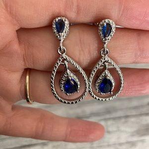 Brea Blue Crystal Hoop Drop Earrings